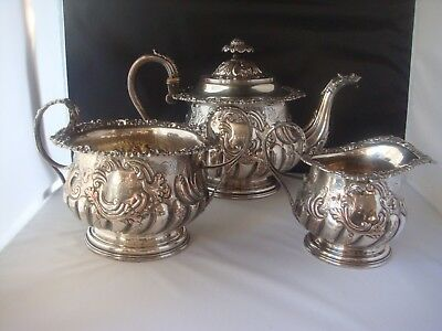 Superb French Antique 1850 Silver Plated 3 Pcs Tea Set With A French Inscription