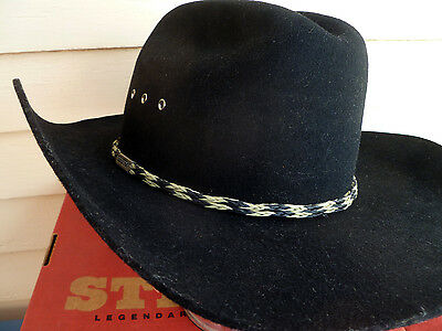 ~ Black STETSON Stallion XX Premium WOOL Cowboy Hat 7 3/8 ~ UNUSED -  TEXAS MADE