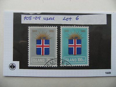Stamps. Iceland. Used. 408-409. Lot 6.