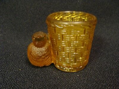 EAPG  Amber Bird With Basket Toothpick