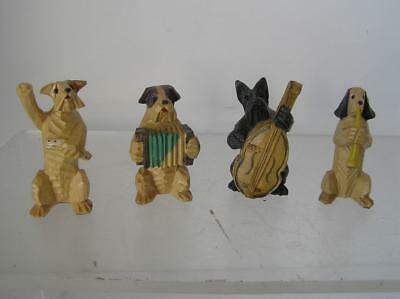Vintage Black Forest Carved Wood Dog Figurines 4 Folk Art Minis Band  A2