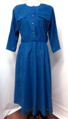 Women's Vintage Dress Blue Micro Suede Full Skirt Mid Calf 3/4 Dolman Sleeve M-L