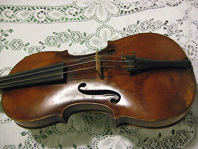 Antique 19th Century German Violin Guarnerius 1-Piece Back, Fluted +Good Old Bow