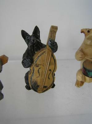 Vintage Black Forest Carved Wood Dog Figurines 4 Folk Art Mini Band members A4