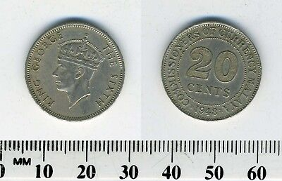 Malaya 1948 - 20 Cents Copper-Nickel Coin - King George VI