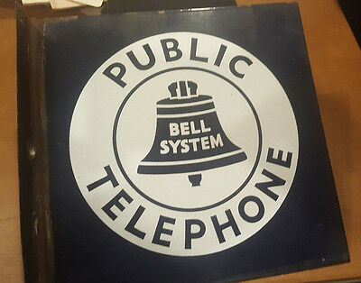 Vintage Bell System Sign Public Telephone Porcelain 2-Sided Flange 11""
