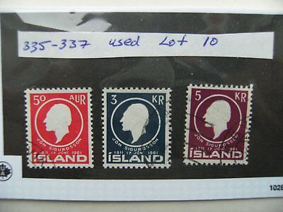 Stamps. Iceland. 335-337 used. Lot 10.