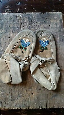 Antique Authentic Beaded Indian Child Moccosins