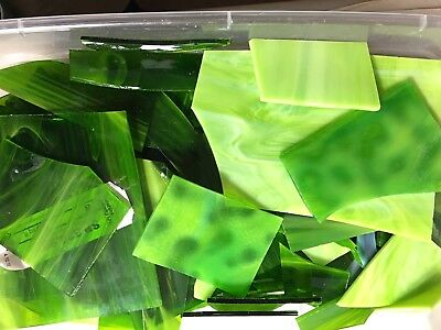 2 Lbs Greens Scrap Stained Glass Mosaics