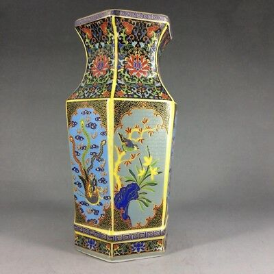 Ancient ceramic hand-painted flower vase (yongzhengmake)
