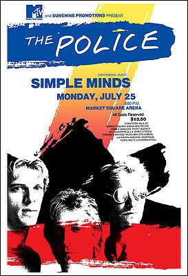 THE POLICE SIMPLE MINDS 1983 Concert Poster
