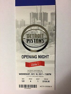 Detroit Pistons Vs Charlotte Hornets October 18, 2017 Opening Night Ticket Stub