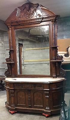 Renaissance Walnut And Burl Marble Top Sideboard