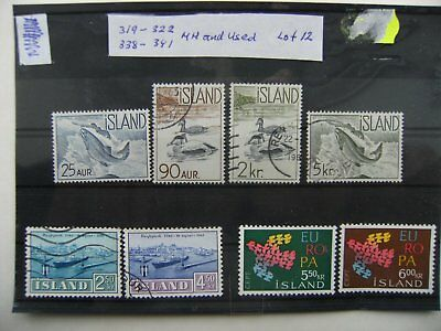 Stamps. Iceland. 319-322 ,338-341 . MH and Used. Lot 12.