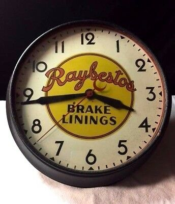 Raybestos Brake Linings Vintage Wall Clock Advertising Sign Auto Rare