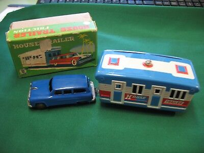 Japan Friction House Trailer and Car Tin Toy With Original Box & Sales sticker