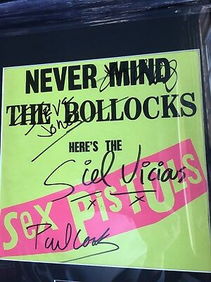 "Autographed ""Never Mind The Bollocks"" LP by The Sex Pistols"
