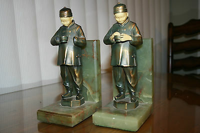 """JB Hirsch Vintage French Bronze Bookends """"Chinese Man"""" Face & Hands r Celluloid"""