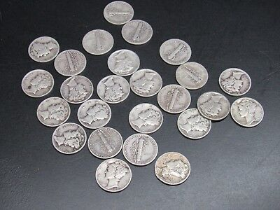 (25) LOT 1916-1945 MERCURY DIMES, $2.50 FACE mix dates 90% SILVER #sb17