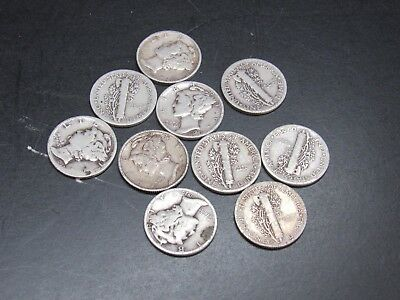 (10) LOT 1916-1945 MERCURY DIMES, $2.50 FACE mix dates 90% SILVER #sb18