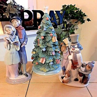 Lladro The Snowman 5713 Christmas Is Here 6670 Christmas Melodies 6128 Fast Ship