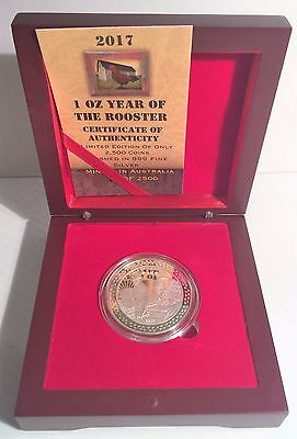 "2017 ""YEAR OF THE ROOSTER"" 1 Oz Coin 999 Fine Silver Plated in Display Box, COA,"
