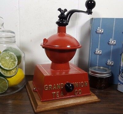 Restored Rare Grand Union Tea Co Cast Iron Coffee Grinder Mill Made By Griswold