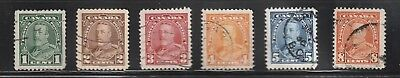 """Canada # 217- 222 """" King George V Pictorial Issue """" Set Of 6 Definitives Used F"""
