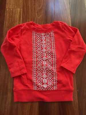 Carters Nordic Print Holiday Red Sweatshirt Tunic Toddler Girl 3T