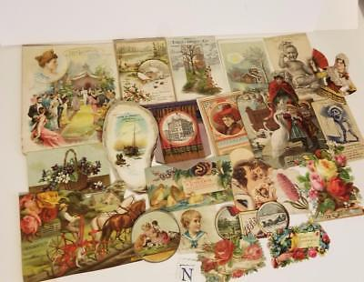 21 pc Antique Victorian scrap pieces picture clippings trade card ephemera lot N