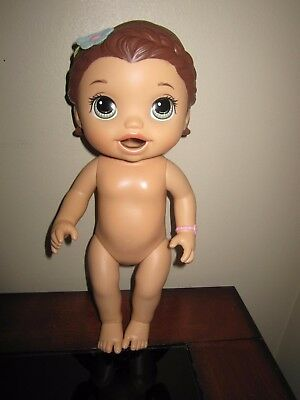 """Baby Alive Doll Brown Molded Hair Green Eyes Vinyl 12"""" Tall"""