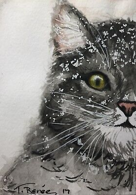 """ACEO Original Watercolor Painting """" Winter Kitty"""" by T. Renee"""