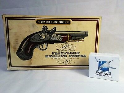 Vintage Ezra Brooks Flint Lock Pistol/Gun On Hard-plastic Stand,Whiskey Decanter