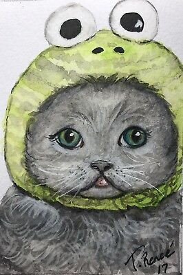 """ACEO Original Watercolor Painting """" Kermit the Kitty"""" by T. Renee"""