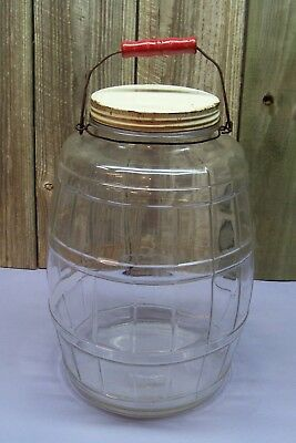 Antique Pickle Candy Barrel Country Store Glass Jar w/ Wood Bail Handle