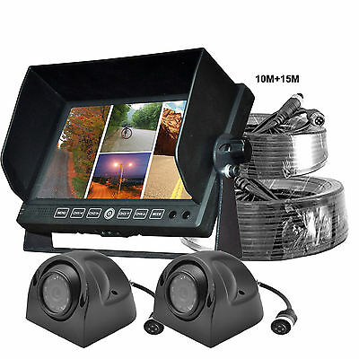 """7"""" Quad Monitor+2x IR SIDE VIEW CCD CAMERA Waterproof Night Vision FOR TRUCK RV"""