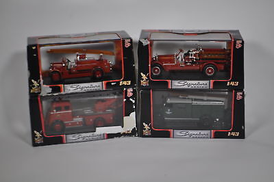 Lot Of 4 1:43 Scale Diecast Cars - Road Signature Firetrucks - Blemished
