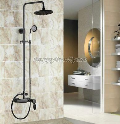 Black Oil Brass Bathroom Rain Shower Faucet Set Single Handle Mixer Taps yrs436