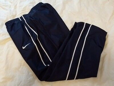 Nike Youth L Large Navy Blue/white Liteweight Athletic Track Sweatpants W/lining