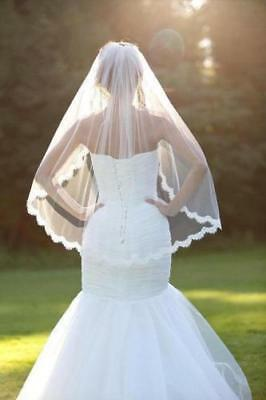 1 Layer White Elbow Length Lace Edge Bride Wedding Bridal Veil + Comb