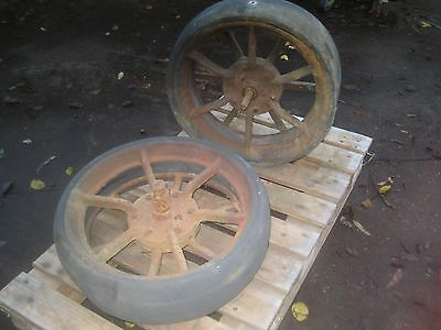 Cast iron Wheels with rubber tyres