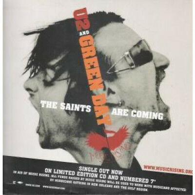 "U2 AND GREEN DAY Saints Are Coming CARD UK Reprise 2006 12""X12"" Double Sided"