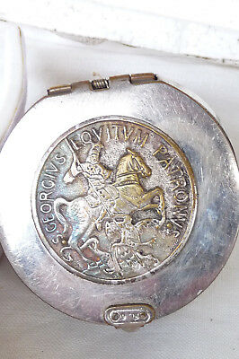Antique Victorian Metal & Leather Chatelaine Coin Pouch : St George & Dragon Top