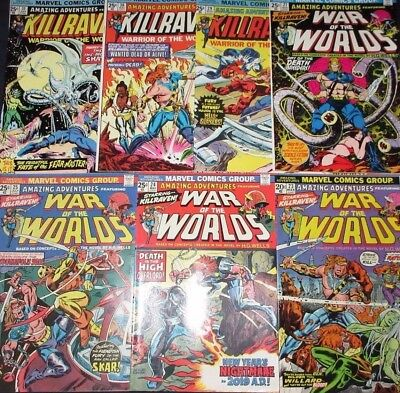 AMAZING ADVENTURES #23-25,27,29-39 KILLLRAVEN! WAR OF THE WORLDS! 1974 H.G Wells