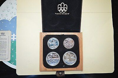 1976 Montreal Olympic Games .925 Sterling Silver Proof 4 Coin Set Water Sports