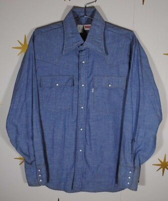 Vintage Mens LEVIS 60649 Chambray Western Pearl Snap Work Shirt Sz Large