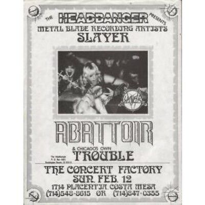 SLAYER/ABATTOIR/TROUBLE Concert Factory, Costa Mesa 12 Feb 1984 FLYER US A4