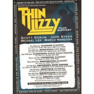THIN LIZZY 2005 Uk Tour FLYER UK Kennedy Street Enterprises 2004 A5