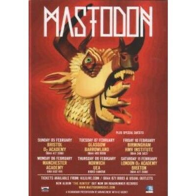 MASTODON Uk Tour FLYER UK Kilimanjaro Double-Sided A6 Card Flyer For Uk Tour