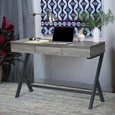 Retro Wooden Console Desk Computer Writing Table WorkStation w/ Drawer Grey OAK